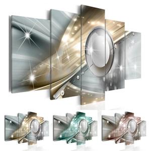 5 Pannelli Arte moderna Decor Office Pittura astratta luce multicolore effetto metallo Cerchio forma Wall Art per la decorazione domestica, senza cornice
