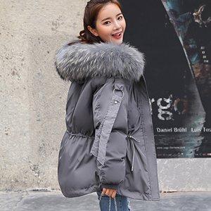 FTLZZ 2019 chaqueta de invierno de las mujeres capa corta con capucha Mujer Parkas invierno mujeres sueltan el cuello de la piel Parka de algodón acolchado Chaquetas T191130