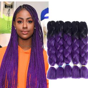 도매 가격 옹 브르 2 3 가지 믹스 컬러 Kanekalon Braiding Hair 합성 점보 Braiding Hair Extensions 24inch Crochet Braids Hair Bulk