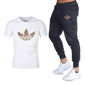 2019 летняя горячая распродажа мужские комплекты футболки + брюки две шт. Комплекты случайный спортивный костюм новый мужской повседневная футболка спортивные залы фитнес брюки мужские