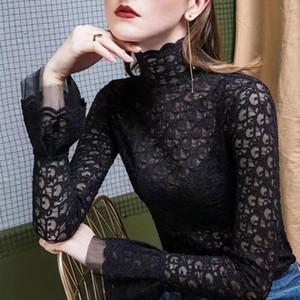 Die neueste Designer Luxus für die gestickte Brief Lang-Hülse T-Shirt Web Promi hoher Kragen-Temperament Spitze Versatile Langarm