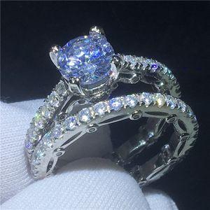 2018 빈티지 링 세트 다이아몬드 Cz Sona Stone 925 스털링 실버 약혼 웨딩 밴드 여성용 반지 Bridal Finger Jewelry Gift