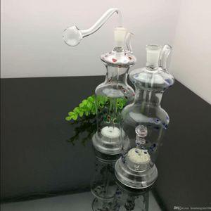 populares cigarro chaleira cor-pontilhado vaso de vidro grosso de vidro bongs Pipes europeus e americanos Oil Burner água Vidro plataformas petrolíferas fumadores F