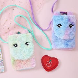 3 스타일 아기 유니콘 봉제 핸드백 지갑 어깨 작은 동전 가방 소녀 아기 겨울 만화 포켓 크로스 바디 가방 FFA2867