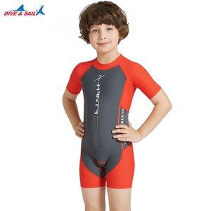 Dive & Sail Boys Orange Grey Lycra Swimsuit Sun Protection Swim Suit UPF 50+ One Piece Shorty Swimwear Zipper 3-10 Years Kids