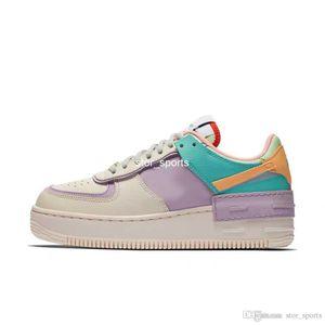 2019 New Nike Air Forces One 1 Shadow AF1 ombra Womens pattini correnti 1s Piuttosto pallido avorio Celestial Gold-tropicale Twist Designer Sneakers Eur 35-40