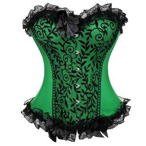 Сексуальная атласные кружева Overlay Бюстье Цветочный Bowknot украшен Body Shaper Белье Викторианский Урожай Showgirl Косплей Костюм