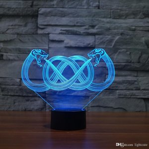 더블 뱀 3D 환상 나이트 라이트 터치 7 개 색 변경 홈 인테리어 아기 소녀 소년 LED 램프 키즈 선물 크리스마스 크리스마스 선물