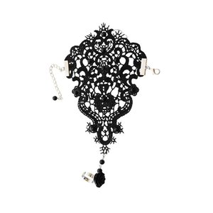 Wedding Bridal Bracelet for Women White Lace Chain Glove Harness Finger Bracelet with Flower Charm Vintage Gothic Jewelry