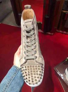 Pelle Khaki di pecora pelle scamosciata High Top Boots inferiore rossa Flats Uomini Sneakers Spikes Orlato Mens opaco della pelle scamosciata Luxe superiori di marca di formatori