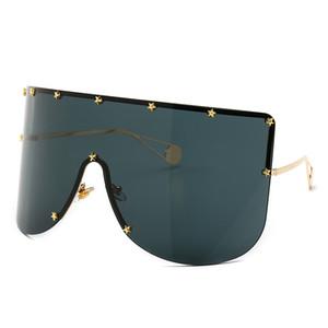 Lunettes de soleil de luxe pour femmes à la mode grand cadre grand masque en forme de masque parasol décoratif étoiles lunettes de soleil européennes et américaines