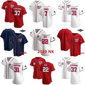 Benutzerdefinierte Jugend Damen Herren Washington 2020 Nationals Juan Soto Max Scherzer Trea Turner Stephen Strasburg Champions Patch-Baseball-Shirts