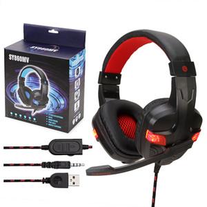 Soyto SY860MV longitud ajustable Stereo Surround USB 3.5mm para PS4 Xbox One Gaming Headset auricular de la venda llevó 24PCS / LOT