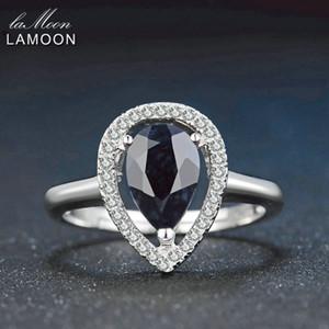 Lamoon 6x9mm Teardrop 100% blu scuro reale Birmania Black Sapphire 925 Anello in argento con S925 per le donne LMRI054