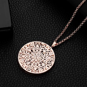 Women's Necklaces Hollow Flower Crystal Locket Gold Silver Pendant Long Necklace Fashion Jewellery collar Gifts