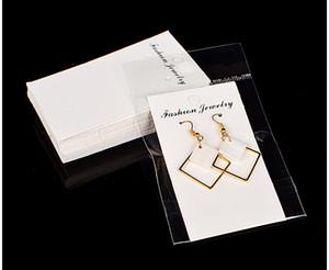 100 قطعة / الوحدة كرافت مجوهرات بطاقة القرط الكبير مع كيس مقابل 5x10 سنتيمتر كرافت الأبيض بطاقة شنق العلامة يعرض المجوهرات