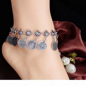 Atacado 20pcs baratos Tribal Ethnic Jewelry Silver Coin Tassel Gypsy Turco Tornozeleiras Pulseira