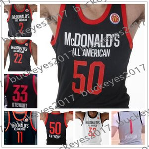 2019 McDonald's All-American Black özelleştirme Forması # 50 Cole Anthony 2 Jaden McDaniels 5 Anthony Edwards 22 Vernon Carey Jr. 33 Isaiah