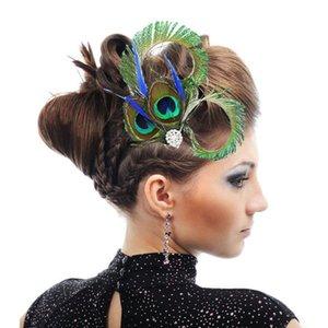 1 pc Clipe Brand Design da pena do pavão Pedrinhas cabelo casamento para as mulheres Dance Party Chic Hairpin Acessórios Jóias