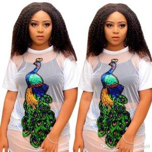 Perspective T-shirts Gaze lambrissé paon ras du cou à manches courtes Mode Feamle Vêtements grande taille Casual Vêtements Femmes été Designer