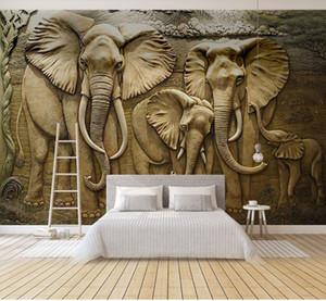 벽지 3D Stereoscopic 양각 회색 아프리카 코끼리 추상 미술 벽화 벽화 거실 침실 8d 벽화 바탕 화면 장식