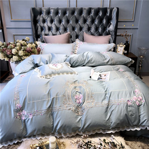 New Light Blue Pink  European Pastoral Embroidery Egyptian Cotton Bedding Set Duvet Cover Bed sheet Bed Linen Pillowcases