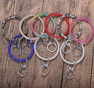 Catene 8styles del diamante del silicone Bracciali donne orologio portachiavi Wristband Circolo del cinturino dell'orologio auto Portachiavi cinturino da polso GGA3224 Jewelry