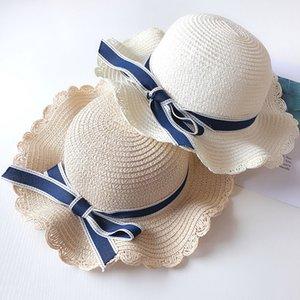Largo Bow Girl Sunscreen Sunscreen respirável Tampão de verão Kids Palha Baby Baby Bucket Chapéu Bowknot Brim Hats LJJA2486 Kuaue