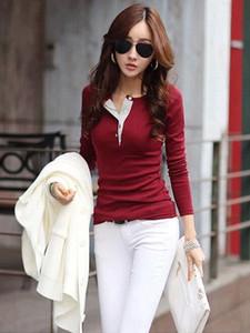 Delgado ocasional de las mujeres remata la camiseta casual de las señoras Top manga larga blusa