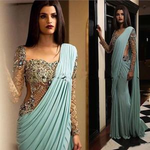 Indien Abendkleider wulstige Kristalle Mermaid Minzen-Grün-formaler Partei-Kleider Aso Ebi Arabisch Abendkleider