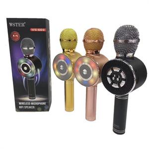 DHL libero WS669 Wireless bluetooth microfono karaoke Speaker voice changer microfono per PC telefono LED Disc luce pk ws858