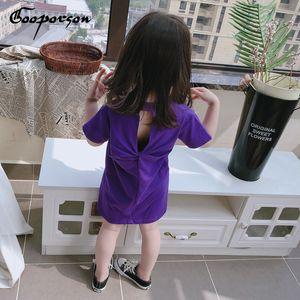 Gooporson новая мода лето детские платья для девочек письмо печатных спинки с коротким рукавом рубашки-dress Vestidos повседневная одежда