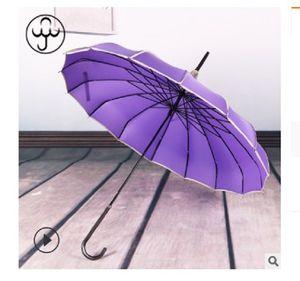 2020 venda quente 16K longa alça pólo reta nupcial guarda-chuva ao ar livre guarda-sol longa-handle guarda-chuva à prova de vento guarda-chuva Baobian pagode lilás co