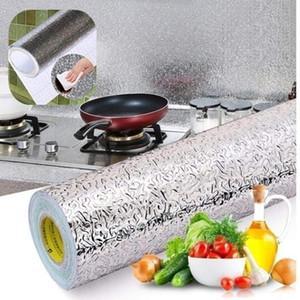 Mutfak Soba Çıkartmalar Su Geçirmez Alüminyum Folyo Yağ geçirmez Anti-kirlenme Yüksek Sıcaklık Kendinden yapışkanlı Duvar Sticker 40 * 100 cm