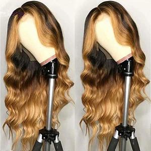 Oulaer 1B / T4 / T27 шнурка передних человеческих волос Парики для черных женщин бразильских Виргинских парики волос с волосами младенца и природных Hairline 13 * 4Wig150%