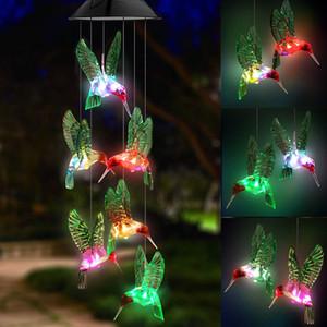 LED Güneş Hummingbird Rüzgar Zili, Ev Partisi Gece Bahçe Dekorasyon renkli su geçirmez Altı Hummingbird Rüzgar Chimes değiştirme