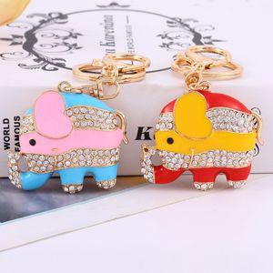 Cute Big Ears Elephant Keychain Sparkling Keyring Crystal Purse Pendant Rhinestones Love Heart Key Chain