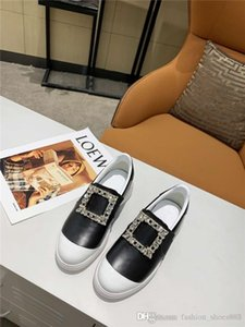 The latest loafers light, simple, sporty style leather sneakers with rhinestone, square buckle and decorative shoes With original box