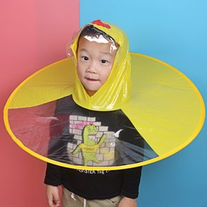 Baby yellow duck UFO raincoat cloak children's head-mounted cloak raincap personalized creative rainproof artifact TikTok