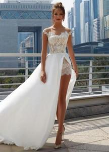 2020 Sheer шеи короткими рукавами Кружева Аппликации A-Line Свадебные платья Modest Lace Mini Свадебные платья с Overskirt Формальное Robe De mariée
