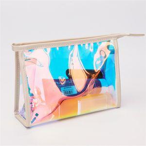 2020 nouveaux Laser Sacs cosmétiques Femmes Laser Maquillage Sac étanche Sac de toilette voyage PVC Fermeture à glissière Organisateur pochette de rangement sacs de lavage