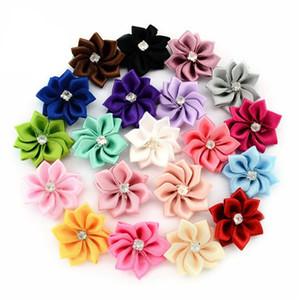 20 colores de la flor de satén sin el clip hecho a mano flor de la tela con el Rhinestone vendas Apliques Traje de niños DIY Accesorios M2041