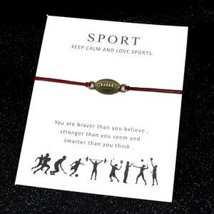 Football Sport Bracelets Baseball Gymnastique Horseshoe Key Amour Charms verrouillage réglable Bijoux Femmes Hommes Garçons Amitié Cadeau
