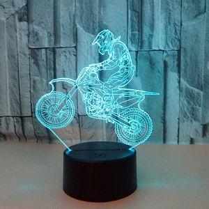 7 Color DC 5V 3D LED Luz de noche Motocross Bike USB Niños Niños Niños Colorido Atmósfera Lámpara Control Táctil Año Nuevo Regalo
