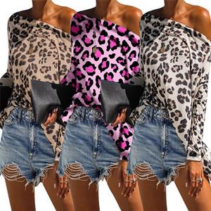 Leopard Print Womens Designer T-shirts De Mode Lâche Slash Neck Dolman Manches Womens T-shirts Casual Females Vêtements