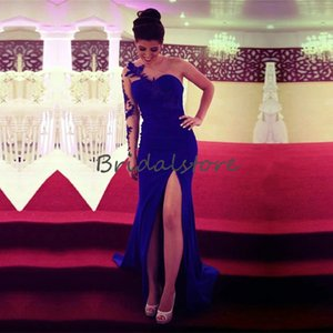 Fitted Royal Blue Prom Dresses One Long Sleeve Lace Applique Formal Evening Dresses With Splits Elegant Plus Size Cheap Cocktail Party Wear