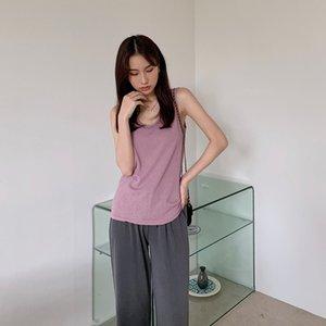 Werynica 2020 superior del algodón informal de verano sólido femenino camiseta sin mangas del V-cuello de las mujeres al estilo coreano elástica Tee tapas para las mujeres