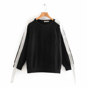 2020 Spring Women's New Fashion Simple Sleeve Webbing Design Round Collar Retro Contrast Sleeve Loose Casual hoodies