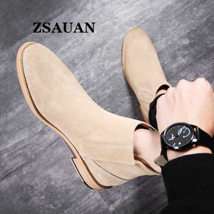 ZSAUAN New British Elegant Mens Boots Pure Suede Leather Pointy Top Quality Men Boots Vintage Wood Sole Fall Men Shoes