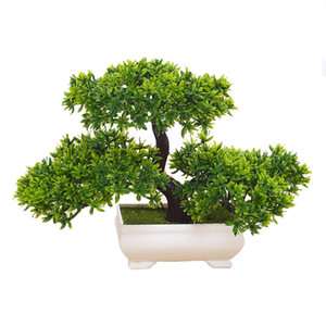 Artificial Potted Plant Bonsai Small Tree Pot Guest-Greeting Pine Fake Flowers Home Ornament Office Hotel Table Garden Decor